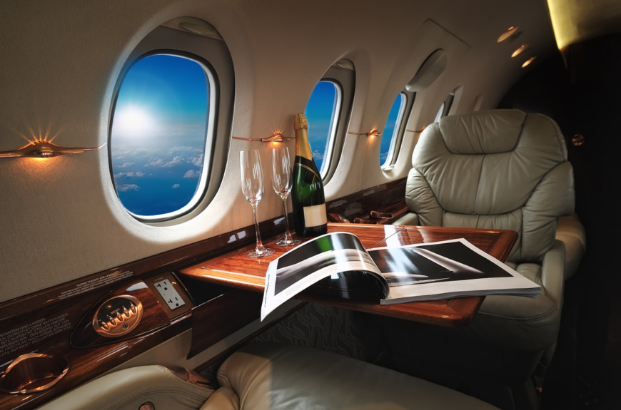 interior of a luxury jet.